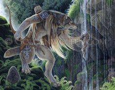 Sacred Waters  A warrior-hunter wolf stops at his tribe's sacred spring to partake of the waters in preparation for a ritual hunt. Commission.    Acrylic on 14″ X 18″ Illustration Board. 2010.