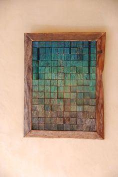 Driftwood wall art - inside squares are painted driftwood