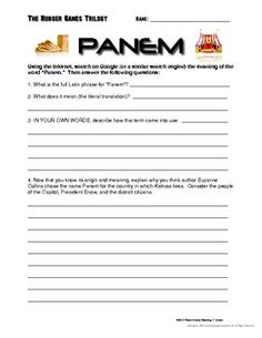 """Hunger Games """"Panem"""" Research Activity"""