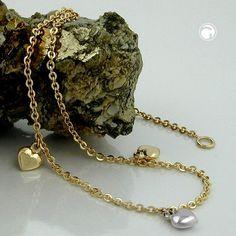 Fußkette, Anker mit 3 Herzen, 9Kt GOLD  mit 3 Herzen, mittleres Herz rhodiniert, 2 Ösen bei 22,5cm und 25cm