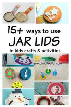 15 Ways to Recycle Jar Lids in Kids Activities Craft Activities For Kids, Preschool Activities, Crafts For Kids, Craft Ideas, Bug Crafts, Easy Crafts, Jar Lid Crafts, Reuse Jars, Recycled Jars