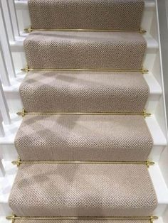Stair runner comes in various types and styles. From stair runner carpet to stair runner DIY. Check out our stair runner ideas here Carpet Staircase, Staircase Runner, Carpet Runner On Stairs, Stair Runners, Stair Runner Rods, Stair Carpet Rods, Basement Carpet, Cottage Stairs, House Stairs