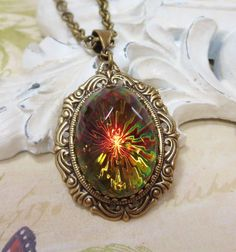 Glass Jewel Necklace Pendant Large Vintage by dfoxjewelrydesigns