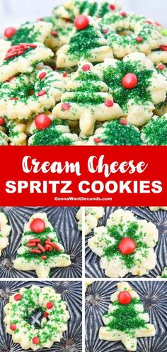 best christmas recipes *NEW* Cream Cheese spritz cookies are decadent little Christmas cookies with subtle cinnamon undertones and a soft creamy texture that begs to be gobbled up. Holiday Desserts, Holiday Baking, Holiday Recipes, Best Christmas Recipes, Christmas Snacks, Christmas Cooking, Christmas Cupcakes, Cute Christmas Cookies, Christmas Appetizers
