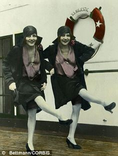 Dancing queens: The girls practiced their tandem act by performing in front of a mirror