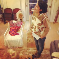 Nadia french blogger wearing the Genova jumper  100% hand made knit