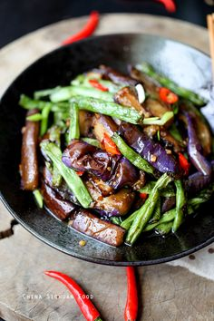 Eggplants and Green Beans - eggplant recipes Green Bean Recipes, Vegetable Recipes, Vegetarian Recipes, Cooking Recipes, Healthy Recipes, Eggplant Dishes, Eggplant Stir Fry, Chinese Vegetables, Asian Cooking
