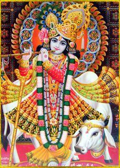 .Krishna plays on His flute, charming the whole created manifestation. Artist: Yogendra Rastogi
