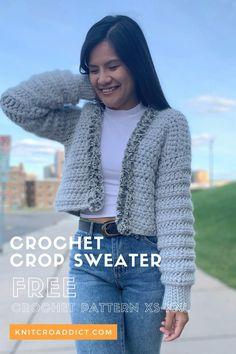 Crochet Cardigan Pattern Free Women, Crochet Jacket Pattern, Free Crochet, Knit Crochet, Crochet Patterns, Crochet Sweaters, Crochet Crop Top, Sweater Knitting Patterns, Learn To Crochet