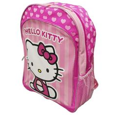 "16"" NEW 2013 Sanrio Hello Kitty Pink Strip Backpack Book Bag Only 21.99"