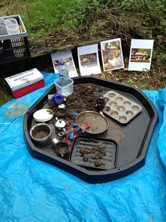 Outdoor maths using a Tuff Spot as a mud kitchen Outside Activities, Outdoor Activities, Activities For Kids, Activity Ideas, Learning Activities, Craft Ideas, Eyfs Outdoor Area, Outdoor Play, Outdoor Ideas
