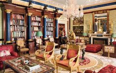 Inside The Beautiful World of Robert Zellinger de Balkany : The interior of Château Balsan in Eze on the Côte d'Azur - Decorated by Jacques Garcia - the most Prestigeous of French Interior Decorator - A refined, grand and luxurious property with superb furniture, marbles & bronzes of the XVIIth, XVIIIth & XIXth century - De Balkany's collection of Paintings, Objets d'Art, Exquisite Furniture is definitely a prestigeous one... matching Blue Marble Obelisks & Library Pilasters... Empire Decor Library Study Room, Classic Library, European Furniture, English House, Grand Homes, Interior Decorating, Interior Design, French Interior, Amazing Architecture