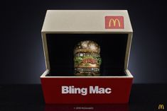 McDonalds USA is giving away a diamond-studded Big Mac ring for Valentines day Read the full article on Luxurylaunches Big Mac, Mac S, Fast Food Items, Animal Rings, Orange Sapphire, 18k Gold, Bling, Valentines, Jewerly