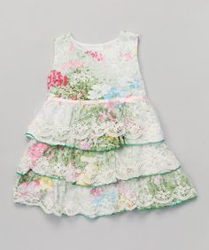 This Green Floral Tiered Sleeveless A-Line Dress - Toddler & Girls by Paulinie is perfect! #zulilyfinds