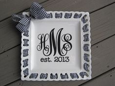 Personalized 12-inch square monogrammed plate