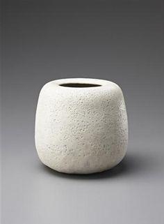 Globular jar, Stoneware, off-white pitted glaze. 20 cm. (7 7/8 in.) diameter, c.1967