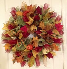 Ruffled edge fall #decomesh wreath!  Please visit my site to order!  Www.creative-twists.com