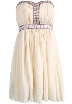 Apricot Strapless Bead Pleated Chiffon Dress - Sheinside.com