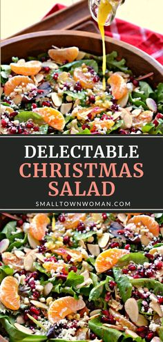 Christmas Salad is always a hit! This easy recipe comes together quickly, with a delicious medley of spring greens, fruit, sliced almonds, feta cheese, and a Honey Mustard Champagne Vinaigrette. Serve this fun and festive salad idea with your Christmas in July meals! Christmas Salad Recipes, Salad Recipes For Dinner, Dinner Salads, Healthy Salad Recipes, Winter Salad Recipes, Healthy Salads For Dinner, Easy Green Salad Recipes, Easy Dinner Party Recipes, Salad Recipes For Parties