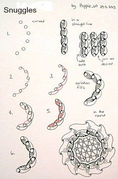 """Tutorial of Zentangle """"Snuggles"""" by """"Poppie_60"""""""