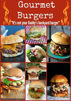 Are you stuck in a rut with your burger recipes? Look no further here are the best gourmet burger recipes including a burger bar, Turkey Burgers, Salmon Burgers, Chicken Burgers and kicked up beef burgers. There is one here for every week of summer so bre Gourmet Burgers, Burger Bar, Burger And Fries, Turkey Burgers, Salmon Burgers, Turkey Grill, Fancy Burgers, Burger Ideas, Veggie Burgers