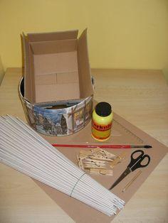 tutorial di cesto di carta rettangolare con base di cartone-  TUTORIAL CESTA CUADRADA