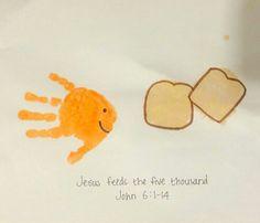 Jesus feeds the five thousand john 6:1-14 fish handprint bread palm print