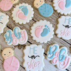***Please contact me before placing an order to be sure that I have availability for your date. Include the date of your event, location and quantity of cookies needed*** This listing is for one dozen gender reveal baby cookies. These are perfect for a gender reveal or baby shower. Cookies can be