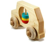 Rattle and Roll Wooden Toy Car - Organic Rattle and Wooden Car in One