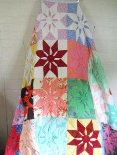 Vintage 70s Handmade Quilt Twin Hippie Boho Bohemian Gypsy Bedspread Blanket