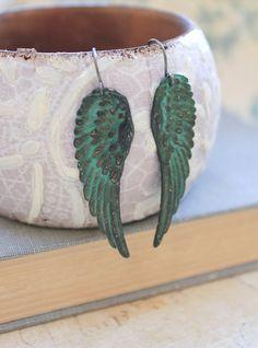 Long Wing Earrings Verdigris Patina Angel Wings by apocketofposies