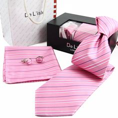>> Click to Buy << free shipping  waterproof anti-oil men stripe silk neckties dress business ties cufflink handkerchief set wedding gift box #Affiliate