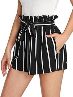 Self Tie Waist Frill Trim Striped Shorts -SheIn(Sheinside) Casual Skirt Outfits, Mode Outfits, Short Outfits, Trendy Outfits, Summer Outfits, Girl Outfits, Fashion Outfits, Beach Outfits, Casual Shorts