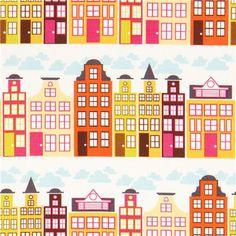 white city panorama fabric orange by Michael Miller USA