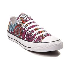 You'll be a bohemian beauty with the new Chuck Taylor All Star Lo Mandala Sneaker from Converse! These crazy-cool Chucks feature a low-top design constructed with breathable canvas uppers, vibrant Mandala prints, and signature Chucks rubber cap-toe. Converse Store, Cool Converse, Converse Sneakers, Canvas Sneakers, Converse Chuck Taylor All Star, Converse All Star, Chuck Taylor Sneakers, Sock Shoes, Cute Shoes