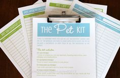 The PET Kit - 4 documents - INSTANT DOWNLOAD - via Clean Mama Printables