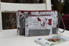 Winter inspired purse,Santaclaus wallet, Gift for women, Double canvas and leather coinpurse,money and card case #coinpurse #womensgift #winter #christmas #wallet #snow #leather #doublewallet #santaclaus