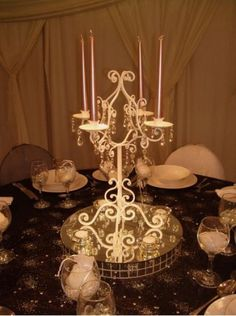 Cream Candelabra with Hanging Crystals