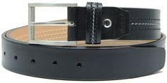 Cintura in pelle Vacchetta con tripla cucitura colore Nero | Adpel