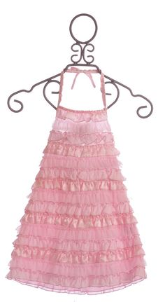 Kate Mack Girls Pink Halter Dress Dipped in Ruffles $66.00