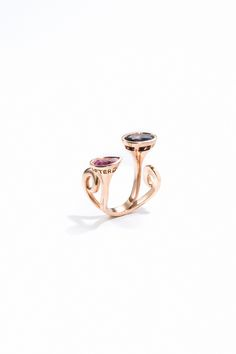 Bague collection Forever And After, or rose 750/1000 et saphirs multicolores - Maison Waskoll