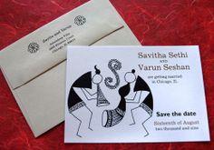 Warli (tribal art) save the date