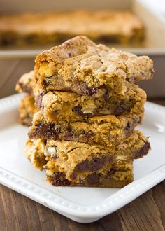 Almond Flour Blondies! Chewy, gooey, and filled with delicious morsels of chocolate, white chocolate, and pecans! {Gluten-Free, Dairy-Free Option}