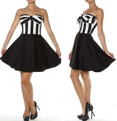 How cute and sexy is this dress! Beautiful black and white striped strapless dress is so on trend right now for this season!! Padded bust is so comfortable and the combination of the padding and the b