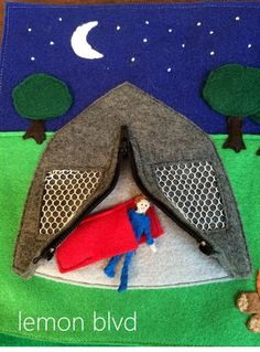 Quiet Book Open Tent - unzip the tent to find a sleeping bag and boy - lemon blvd
