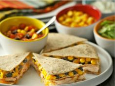 Southwest Chicken Quesadilla Stackers - Use turkey, Use more black beans and add yellow and orange peppers.