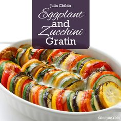 This eggplant and zucchini gratin recipe from Julia Child is a true classic. It makes a great side dish or can be served as the main meal. #healthymeal #eggplant #zucchini #healthyrecipe