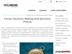 Tucareers.com provides a research based comprehensive career guidance and planning system. The system is driven by analytics and uses 50+ variables to match individuals to careers based on their interests, personality,values and abilities. Choosing the right career is the one of the most important decision of your life.