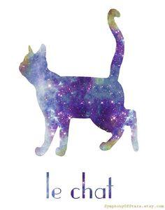 Cat II Galaxy Universe Fine Art Print Poster via Etsy Crazy Cat Lady, Crazy Cats, Galaxy Colors, Galaxy Cat, Cat Posters, Galaxy Design, Space Cat, Art For Art Sake, Cat Art