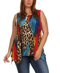 e7396e425d15 Another great find on  zulily! Blue  amp  Red Leopard Handkerchief Tank -  Plus